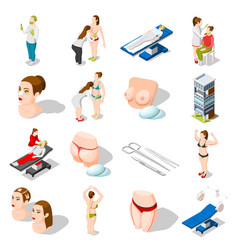 Plastic surgery isometric icons vector