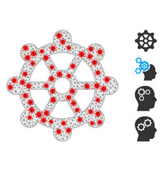 Polygonal wire frame gear icon with infection vector