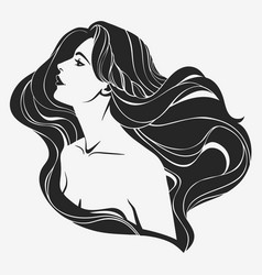 portrait a girl with long hair in profile vector image