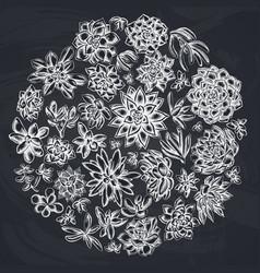 Round floral design with chalk succulent echeveria vector