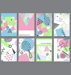 Set eight cards in memphis style vector