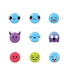 set kawaii emoji emotion design icon vector image