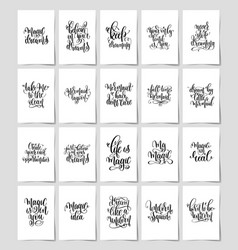 set of 20 black and white hand lettering quotes vector image