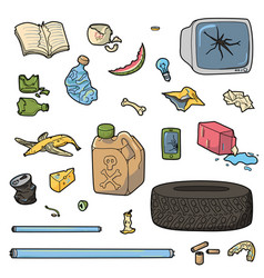 set of different waste vector image