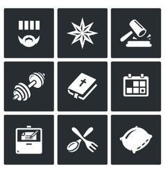 Set of Prison Icons Prisoner Tattoo vector