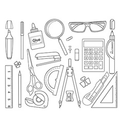 Set of stationery tools line-art vector