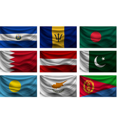 Set wave country flag with shadows vector