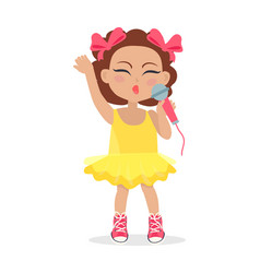 Singing girl with bows on head little singer vector