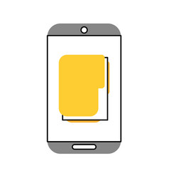 Smartphone with file folder vector