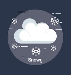 Snowy weather status icon vector