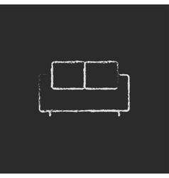 Sofa icon drawn in chalk vector image