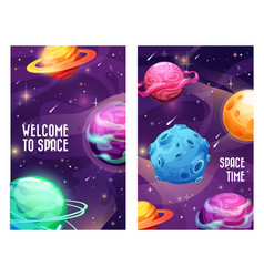space planets galaxy universe and cosmos sky vector image