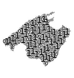 Spain mallorca island map mosaic of binary digits vector