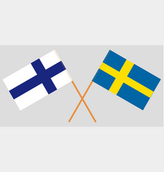 the crossed finland and sweden flags vector image