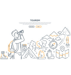 Tourism - line design style web banner vector