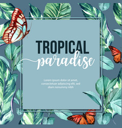 Tropical-themed decorative frame creative leaves vector