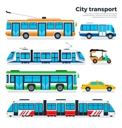 Types of city transport isolated on white vector image