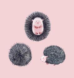 Watercolor hedgehog set vector