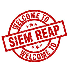 Welcome to siem reap red stamp vector