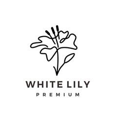 white lily continuous line monoline logo icon vector image