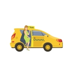 Woman Entering A Yellow Taxi Car vector image