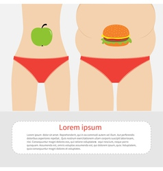 Woman fat and skinny figure Healthy unhealthy food vector image