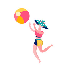 woman playing beach volleyball flat vector image