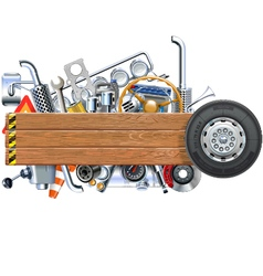Wooden Board with Truck Spares vector image