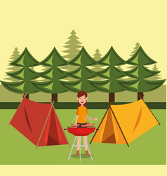 Young woman scout in the camping zone scene vector