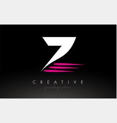 Z white and pink swoosh letter logo letter design vector