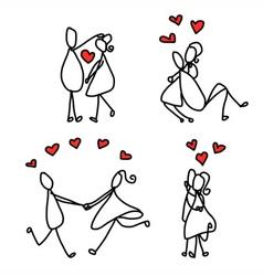 cartoon character happy lovers vector image vector image