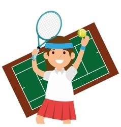 character girl tennis racket court vector image