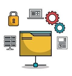 Data base folder file archive work isolated vector