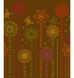 Floral border background made of many flowers vector image vector image