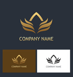 gold wing abstract company logo vector image