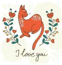 Love card with elegant cat vector image