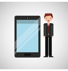 Character businessman with smartphone shiny layer vector