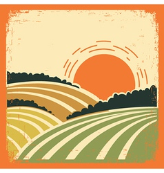 landscape with fields on old poster vector image vector image