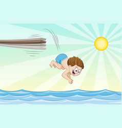 little boy is jumping from a jumpboard into the vector image