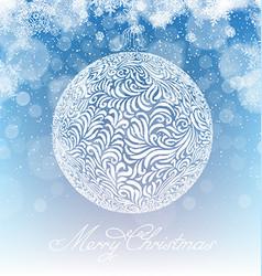 Merry Christmas Ball Xmas Background Snowfall vector image