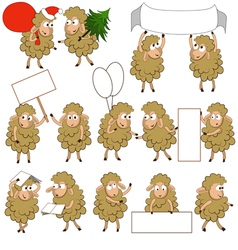 Set of various cartoon sheeps in various poses vector image