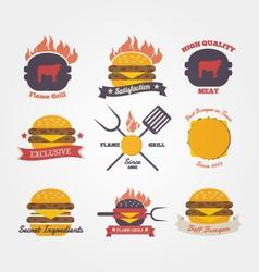 Burger restaurant flat design vintage label vector image vector image