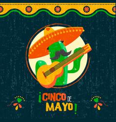 cinco de mayo card of fun mexican mariachi cactus vector image