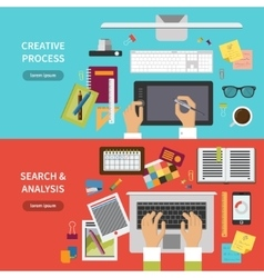 Creative process search and analysis concept set vector image vector image