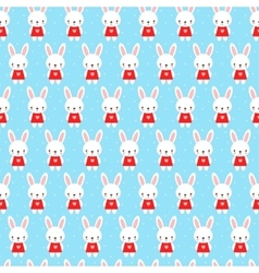 Cute childish seamless pattern with bunny vector image