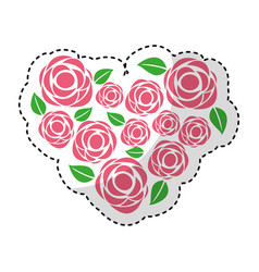 heart love with roses romantic card vector image