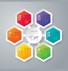 infographics design with 6 step vector image