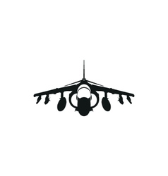 simple black fighter jet icon on white background vector image