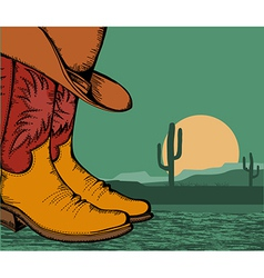 western background with cowboy shoes and desert vector image vector image