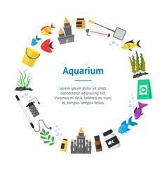 aquarium banner card circle vector image vector image